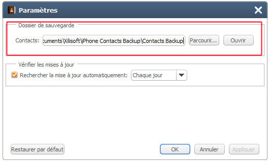 Xilisoft Sauvegarde Contacts iPhone, transfert contacts iPhone