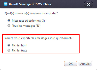 Xilisoft Sauvegarder SMS iPhone